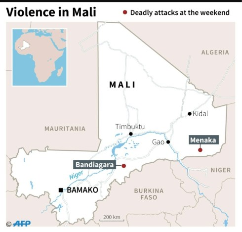 Map locating areas of deadly attacks against Malian and French soldiers in Mali at the weekend (AFP)