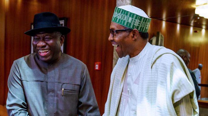 Buhari and Jonathan enjoying a joke.