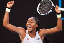 Coco Gauff of the US celebrates after victory against Japan's Naomi Osaka during their women's singles match on day five of the Australian Open tennis tournament in Melbourne on January 24, 2020. (Photo by DAVID GRAY / AFP) /