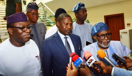 Gov. Rotimi Akeredolu, addresing State House correspondents after the crucial meeting