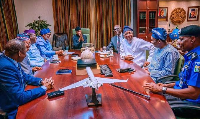 South West Governors, others, at the meeting with Osinbajo
