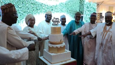 Gov. Fayemi, accompanied by fellow governors, cuts his birthday cake