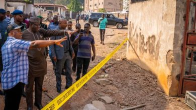 Gov. Kayode Fayemi at the explosion site
