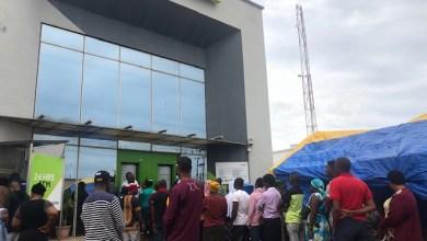 Customers queue to enter a bank on Tuesday(The Crest-Damilola Adeyera)