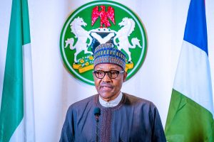 President Buhari during the broadcast (State House, Abuja)
