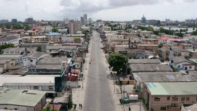 An aerial view shows empty streets in Lagos on March 31, 2020 (Photo credit-Pierre FAVENNEC/AFP)