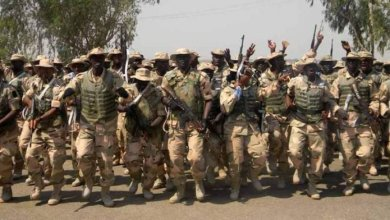 Nigerian Army troops jubilating after a successful operation