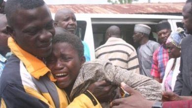 Joy of freedom...one recently released student cried in the arms of his parent