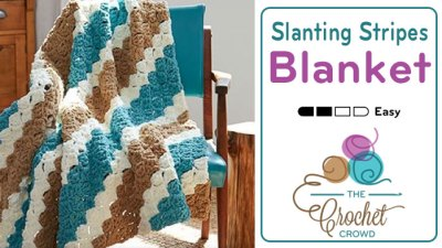 Crochet Corner to Corner Slanting Stripes Blanket + Tutorial
