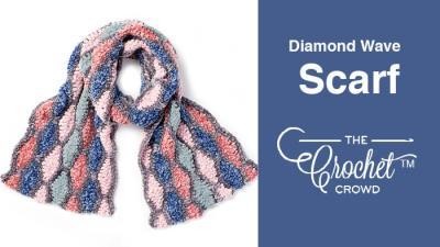 Crochet Diamond Wave Scarf + Tutorial