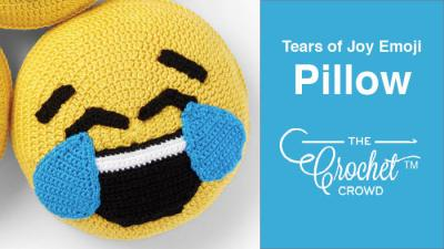 Crochet Tears of Joy Emoji Pillow + Tutorial