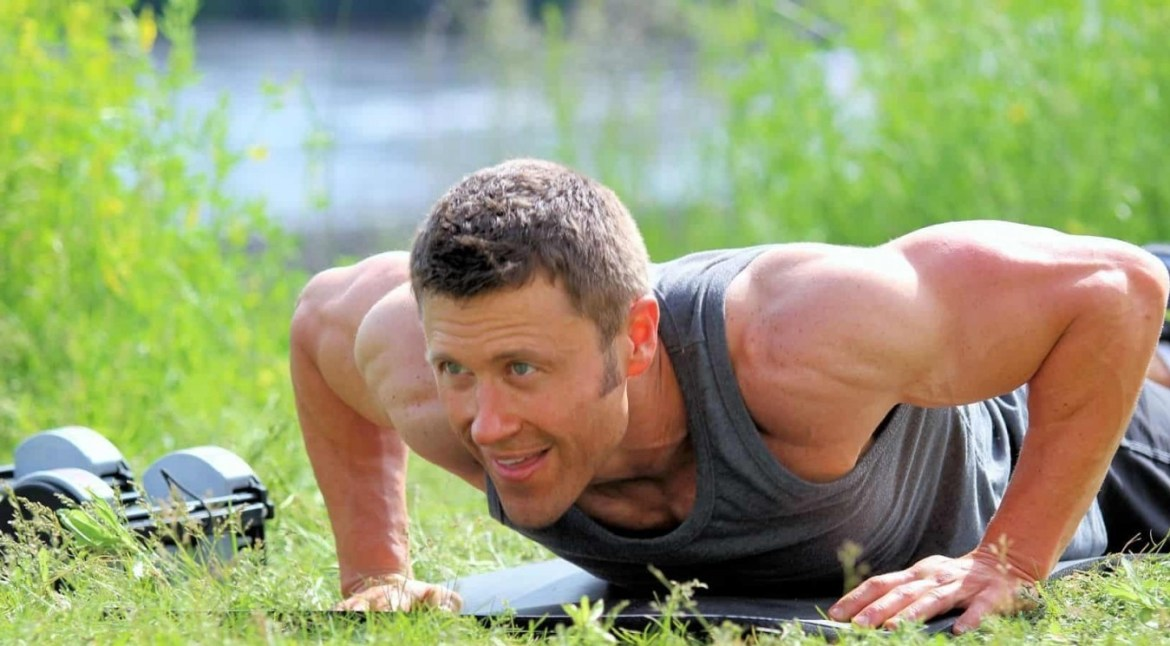JC Cross demonstrating pushups for home workouts