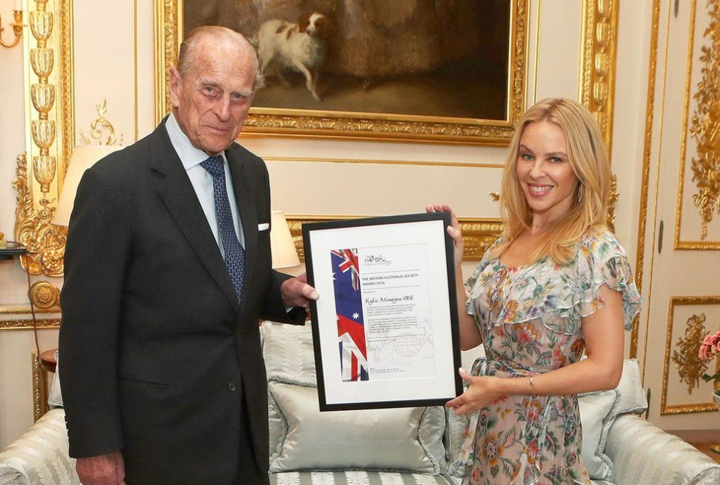 Prince Philip presented Kylie Minogue with the Britain-Australia Award for her work building relations between the countries (@RoyalFamily)