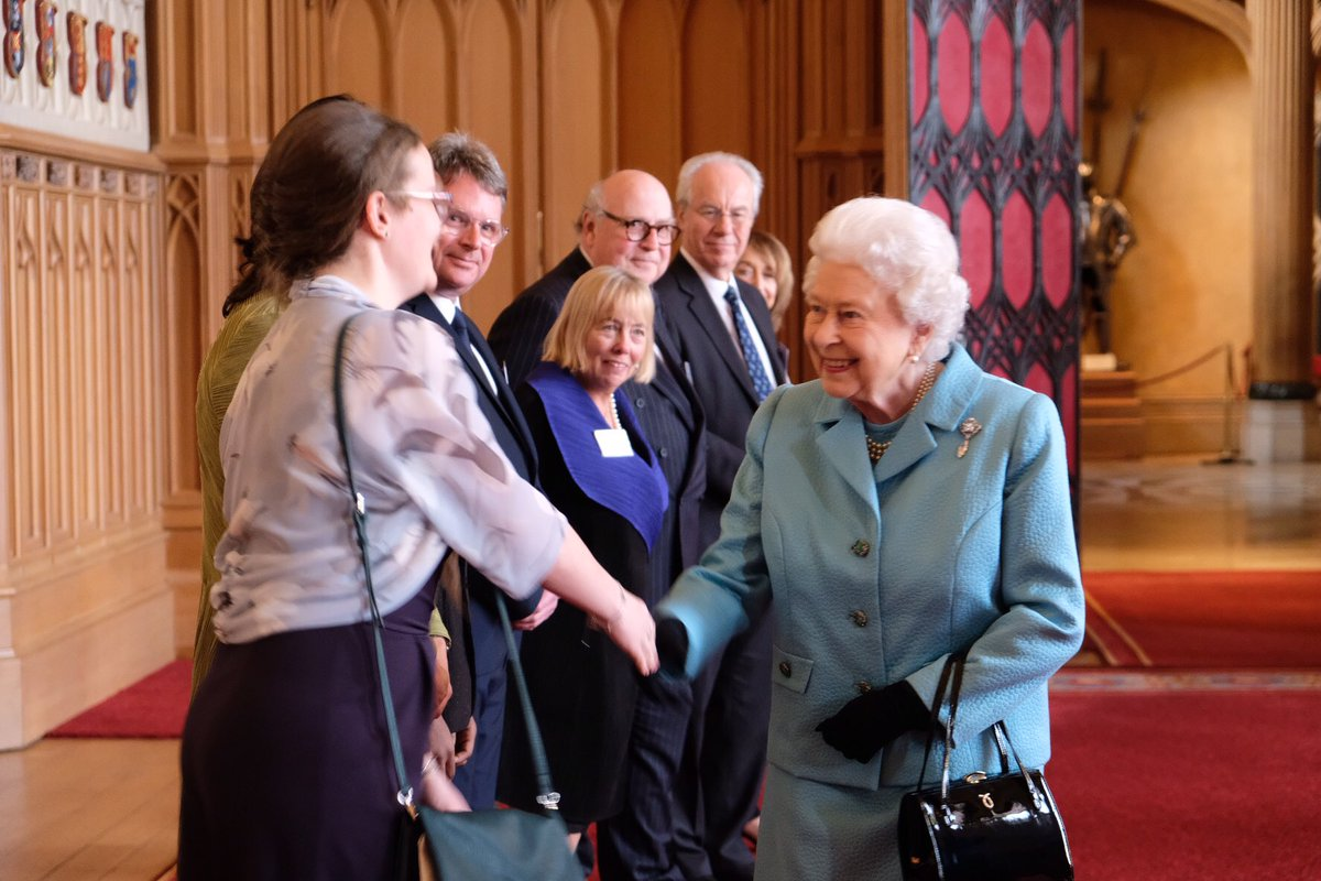 The Queen meets Louise Munro who is Helpforce's Young Volunteer of the Year.  (royal family)