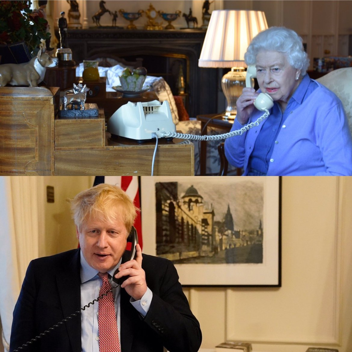 The Queen on the phone with Prime Minister Boris Johnson for their weekly audience
