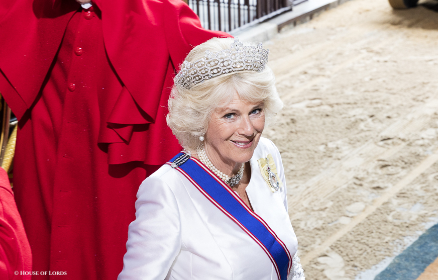 Camilla, The Duchess of Cornwall wearing the Greville honeycomb tiara at the State Opening of Parliament