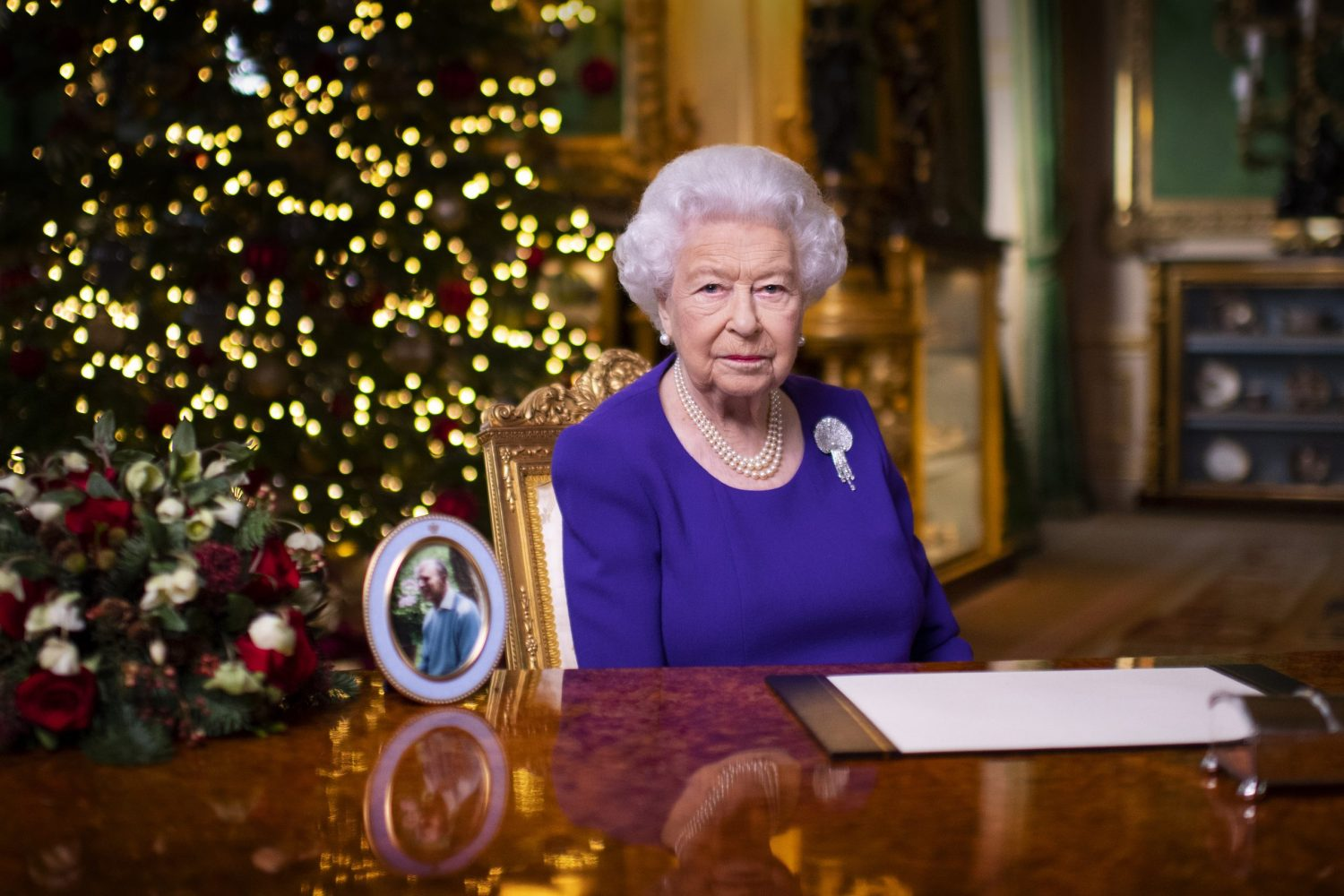The Queen records her annual Christmas broadcast in Windsor Castle (PA Wire/Victoria Jones)