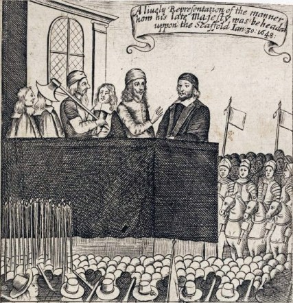cartoon of Charles I on the scaffold before his execution