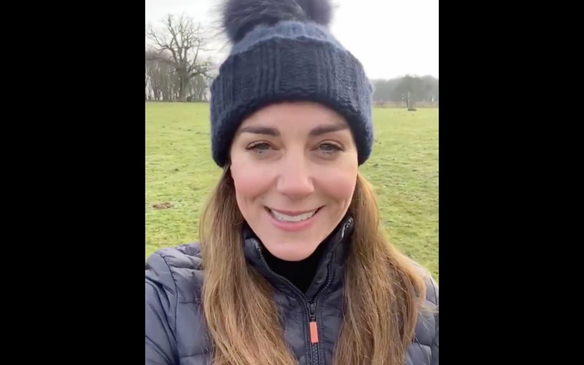 The Duchess of Cambridge recorded a video outdoors