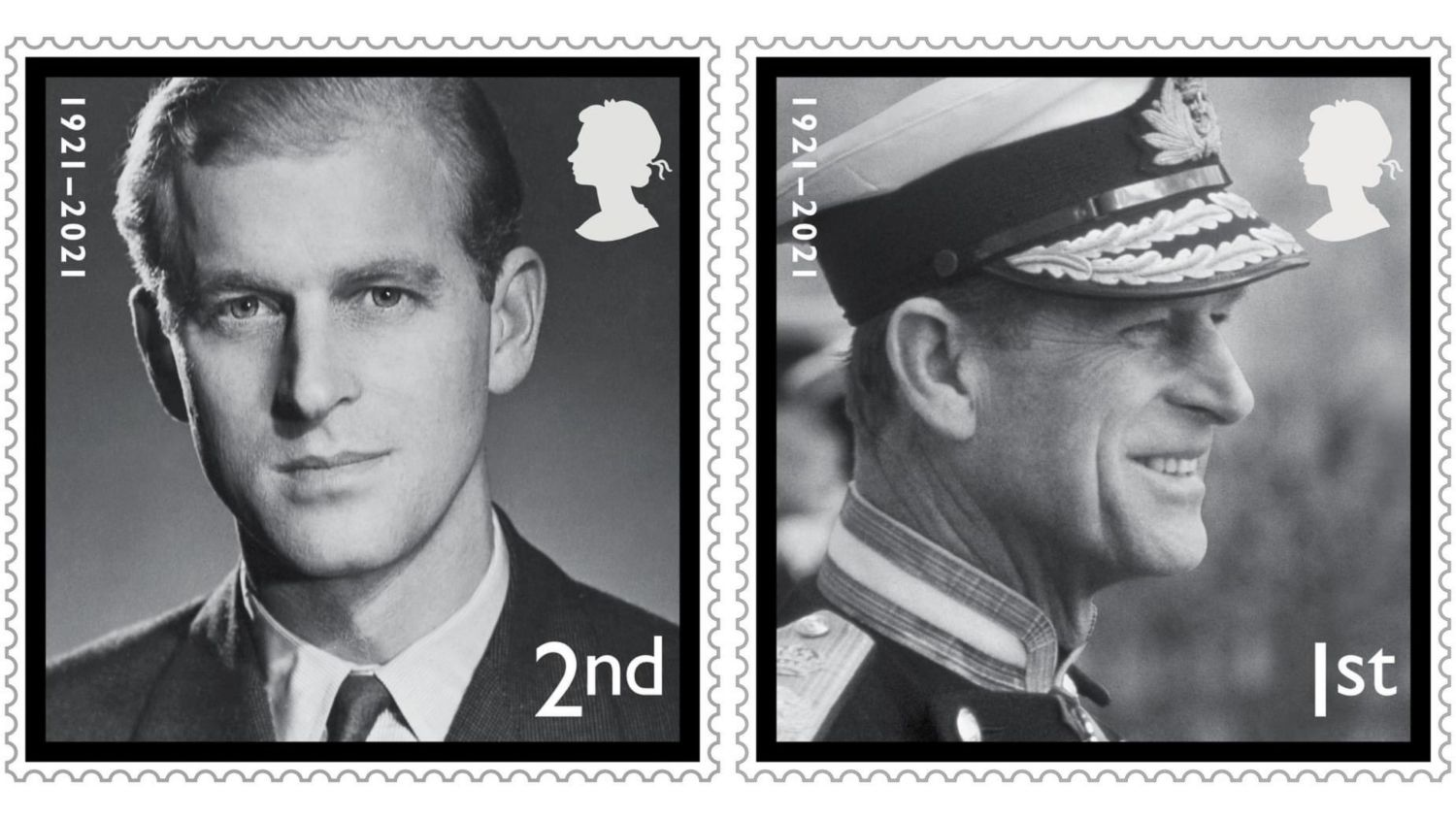 The first stamp features a portrait of Prince Philip as a young man, taken by the photographer Baron, while the second shows him at (Royal Mail).