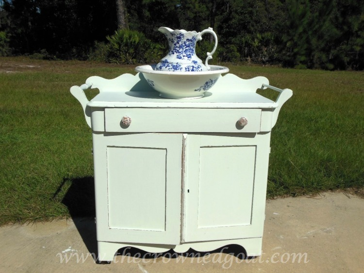 102714-9 Washstand Makeover with DIY Chalk Inspired Paint Recipe Painted Furniture