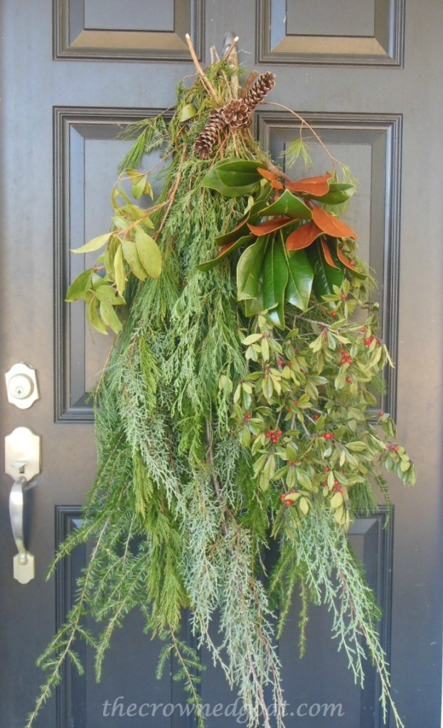 121514-2-Fresh-Greenery-for-the-Front-Door-623x1024 2014 Christmas Porch Decorating Holidays