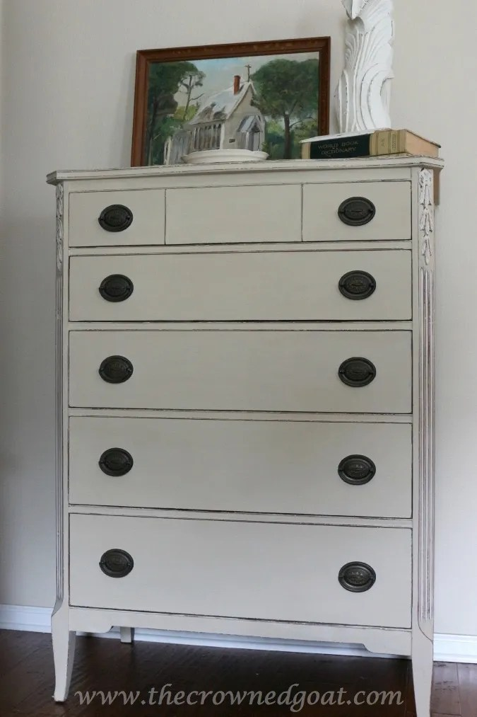 012315-3 Annie Sloan Chalk Painted 3-Drawer Nightstand in Country Grey Painted Furniture