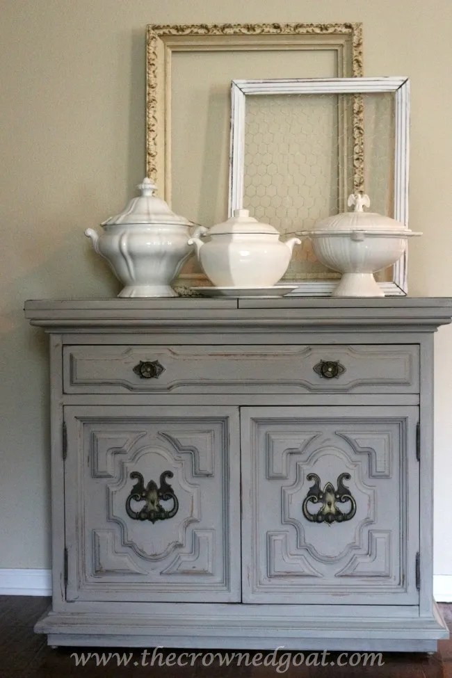 040715-11-Annie-Sloan-Chalk-Painted-Dresser-in-French-Linen-The-Crowned-Goat Painted Buffet in Annie Sloan Chalk Paint French Linen Painted Furniture
