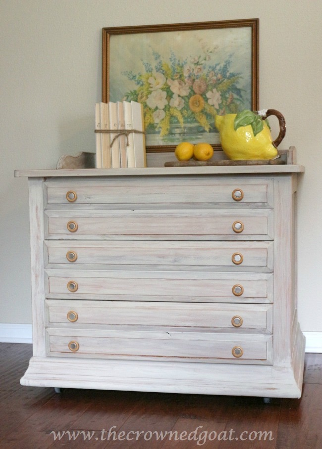 040815-7- Annie Sloan Chalk Painted 3-Drawer Nightstand in Country Grey Painted Furniture