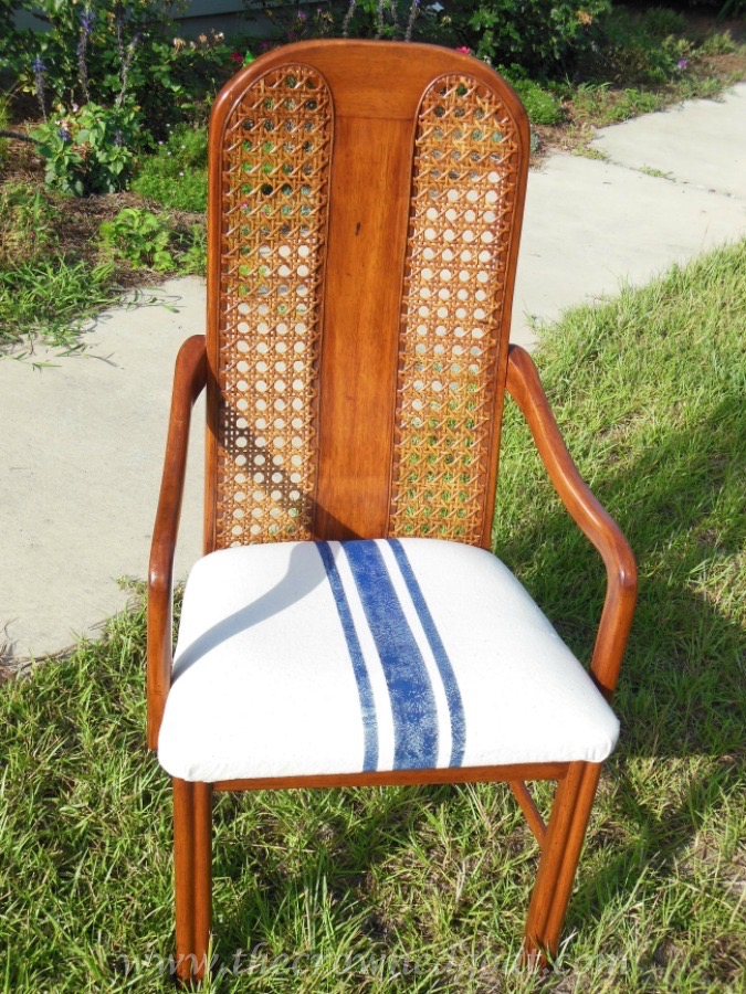 041415-11 How to Paint Grain Sack Stripes on a Drop Cloth Covered Chair DIY