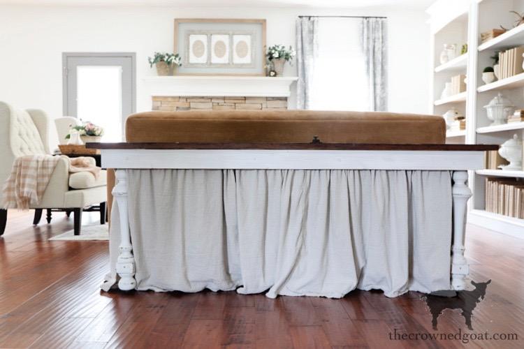 Adding-a-Drop-Cloth-Skirt-to-a-Console-Table-The-Crowned-Goat How to Create a Console Table from an Old Door DIY Painted Furniture