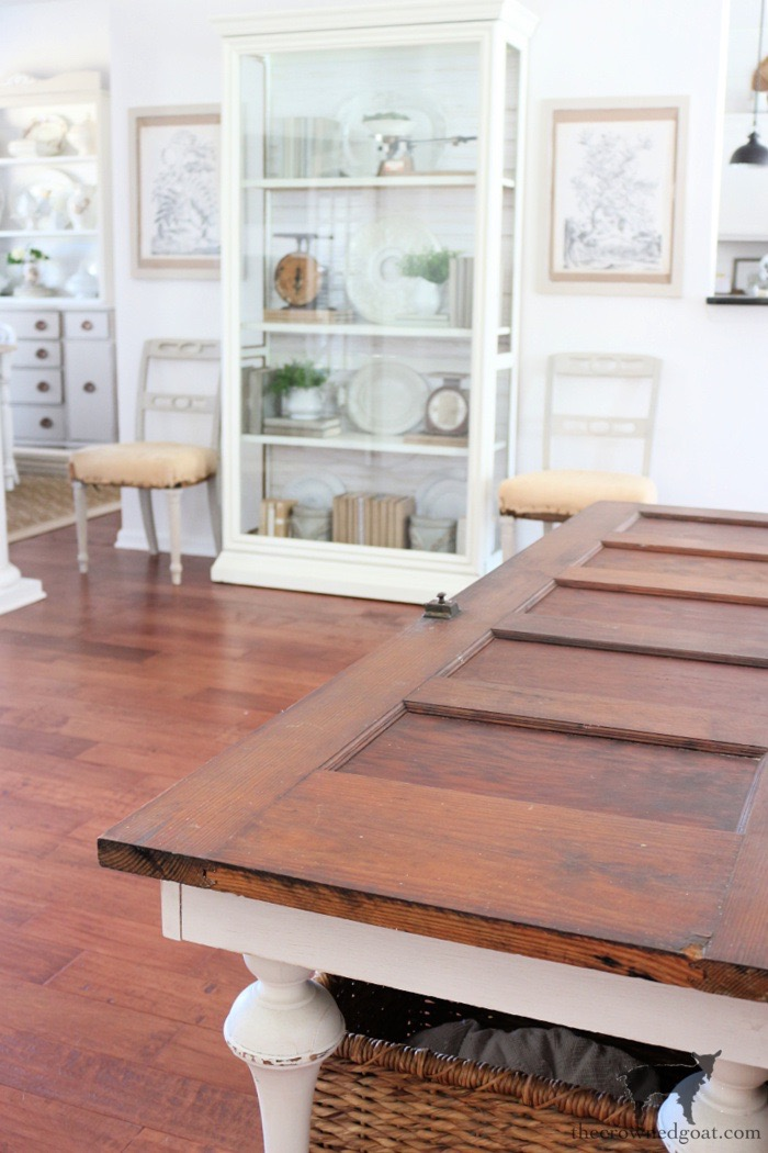 Display-Cabinet-in-a-Open-Concept-Home-The-Crowned-Goat How to Create a Console Table from an Old Door DIY Painted Furniture