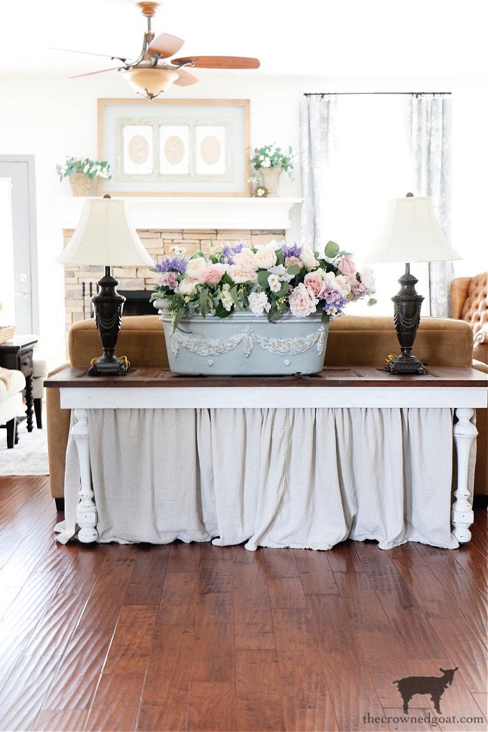 French-Counry-Planter-and-Table-Lamps-on-DIY-Console-Table-THe-Crowned-Goat How to Create a Console Table from an Old Door DIY Painted Furniture