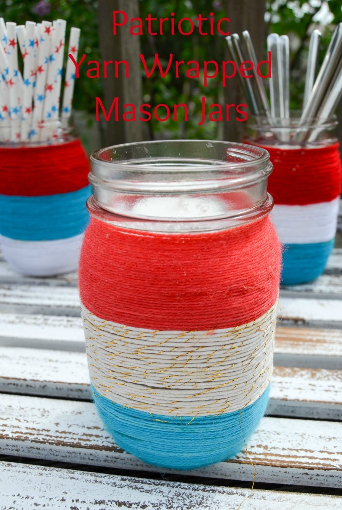 Albiongould-Patriotic-Yarn-Wrapped-Mason-Jars- Something to Talk About Link Party #19 LinkParty