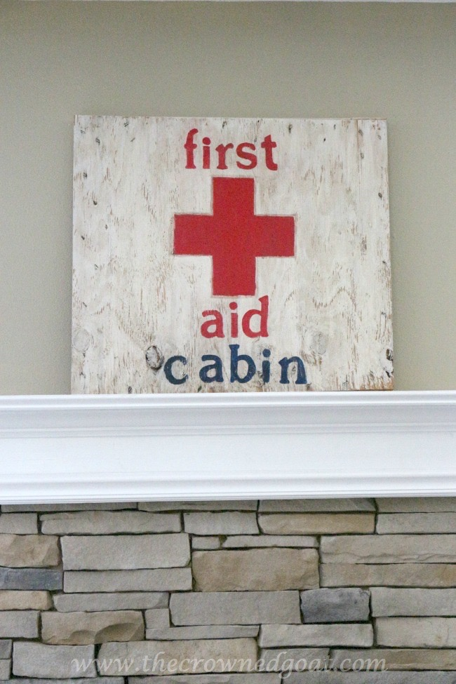 First-Aid-Cabin-Sign-The-Crowned-Goat-052615-2 Cabin Inspired Summer Mantel Decorating