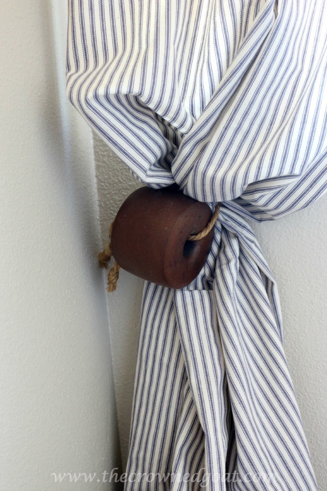 Lobster-Trap-Float-as-Curtain-Tie-The-Crowned-Goat-061815-4 Master Bathroom Makeover Decorating