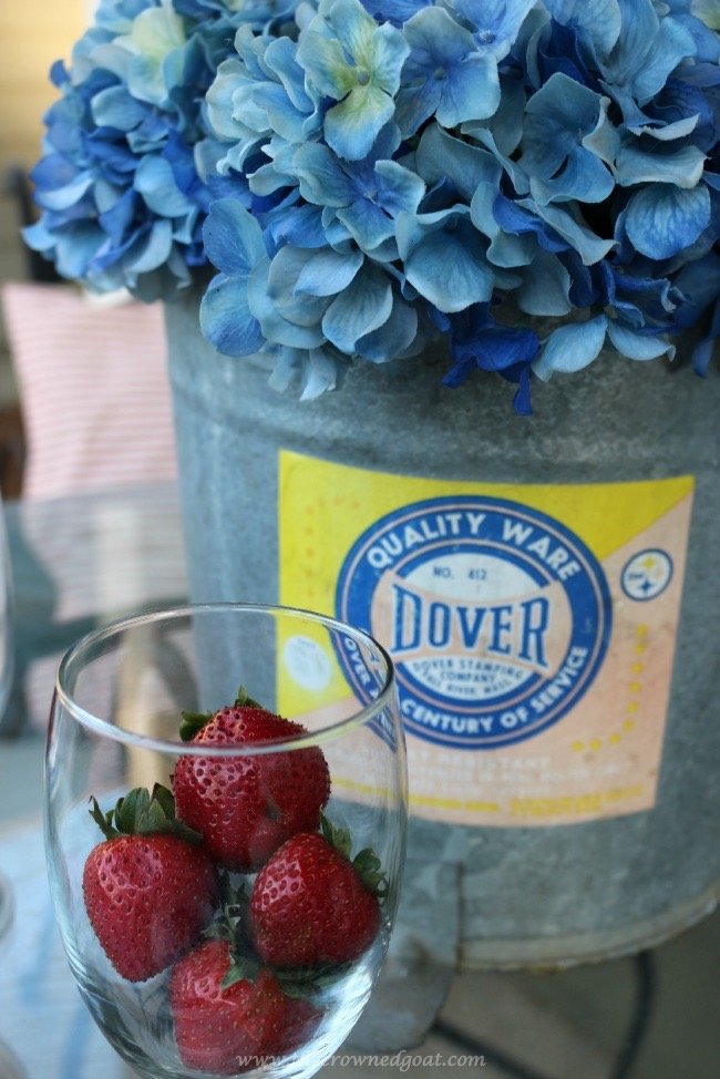 Repurpose-an-old-mop-bucket-to-hold-summer-flowers-The-Crowned-Goat-060215-6 Summer Inspired Front Porch Decorating