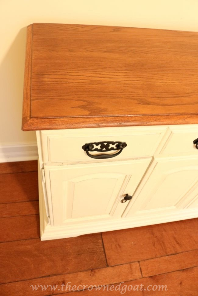 073015-4 Old White and French Linen Painted Buffet DIY Painted Furniture