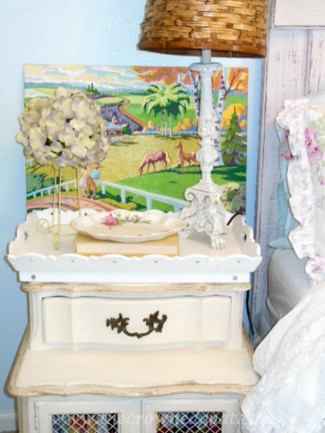 Decorating-with-Vintage-Paint-by-Numbers-The-Crowned-Goat-071515-6 Shabby Chic Inspired Bedroom Decorating