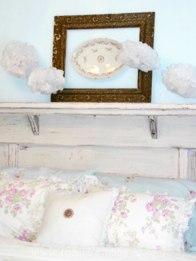 Using-an-Old-Mantel-as-a-Headboard-The-Crowned-Goat-071515-2 Shabby Chic Inspired Bedroom Decorating