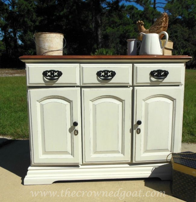 old-white-painted-buffet-the-crowned-goat-073015-3 Old White and French Linen Painted Buffet DIY Painted Furniture