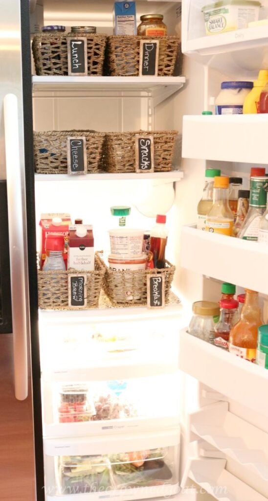 Budget-Friendly-Refrigerator-Makeover-The-Crowned-Goat-080515-12-548x1024 Organizing the Refrigerator with Budget Friendly Baskets  Organization