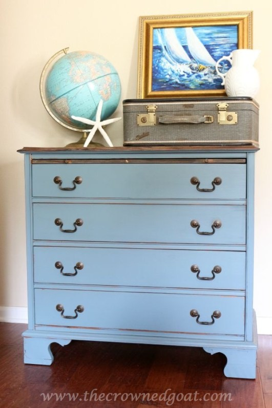 Coastal and Weathered Inspired Dresser Makeover from The Crowned Goat