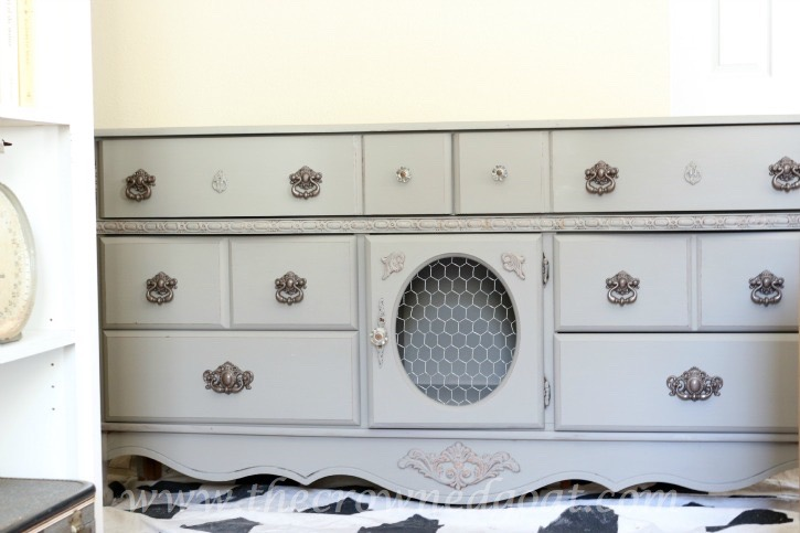 011216-11 French Linen Painted Buffet Painted Furniture