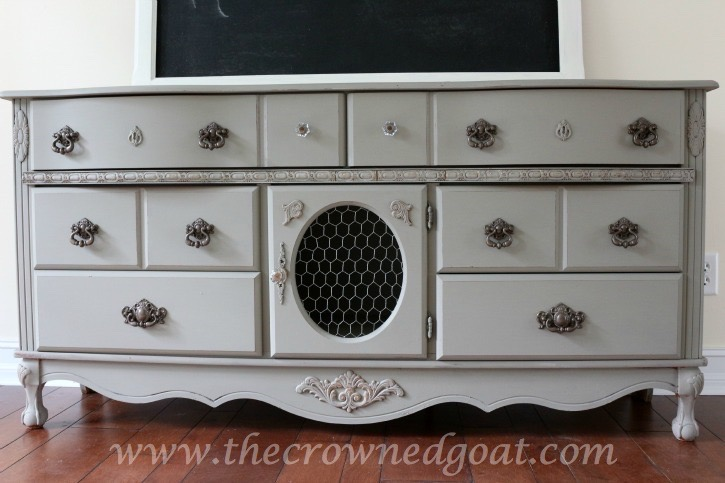 011216-12 French Linen Painted Buffet Painted Furniture