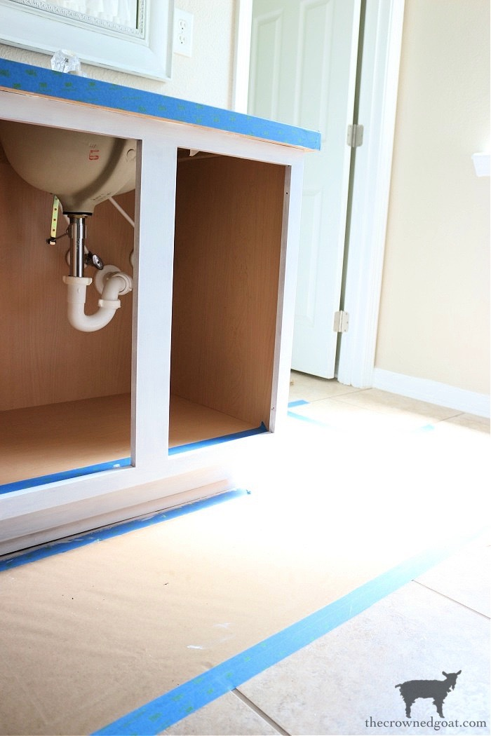 How-to-Paiint-a-Bathroom-Cabinet-with-Milk-Paint-The-Crowned-Goat-16 How to Paint a Bathroom Cabinet with Milk Paint DIY One_Room_Challenge Painted Furniture