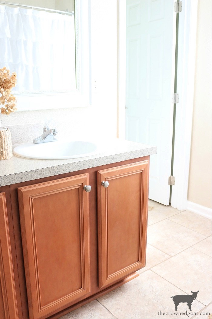 How-to-Paiint-a-Bathroom-Cabinet-with-Milk-Paint-The-Crowned-Goat-3 How to Paint a Bathroom Cabinet with Milk Paint DIY One_Room_Challenge Painted Furniture