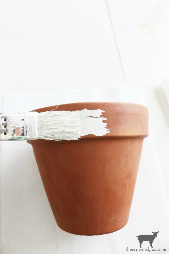 White-Washing-Terracotta-Pots-with-Chalk-Paint-The-Crowned-Goat-5 White Washing Terra Cotta Pots with Chalk Paint Crafts Decorating DIY