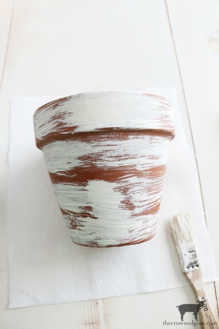 White-Washing-Terracotta-Pots-with-Chalk-Paint-The-Crowned-Goat-7 White Washing Terra Cotta Pots with Chalk Paint Crafts Decorating DIY