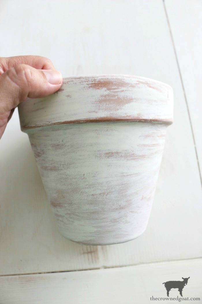 White-Washing-Terracotta-Pots-with-Chalk-Paint-The-Crowned-Goat-9 White Washing Terra Cotta Pots with Chalk Paint Crafts Decorating DIY